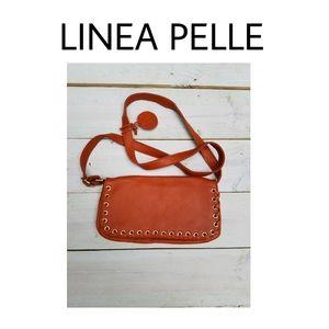 NWOT LINEA PELLE whipstitch bag